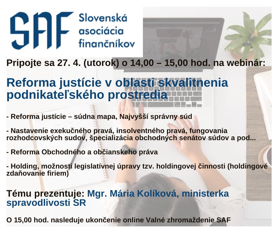 Webinár: Reforma justície v oblasti skvalitnenia podnikateľského prostredia