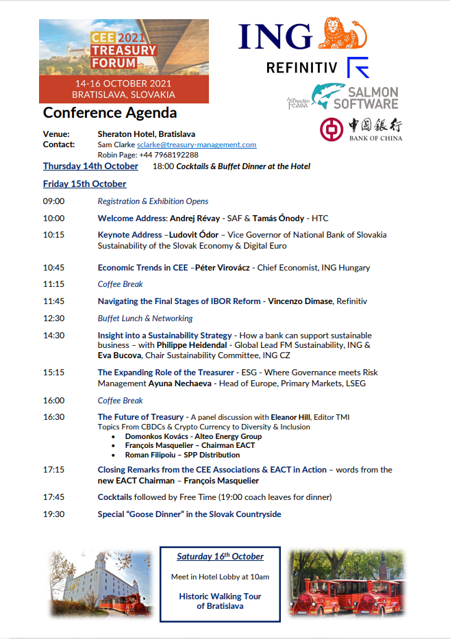Konferencia CEE TREASURY FORUM 15.októbra 2021 Bratislava